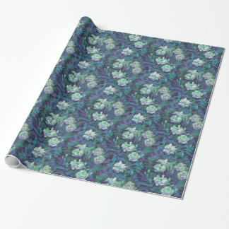 White Roses, Blue Leaves, Vintage Floral Pattern Wrapping Paper