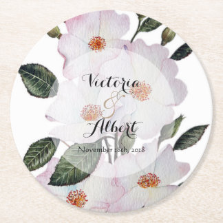White Roses Botanical Illustration Round Paper Coaster