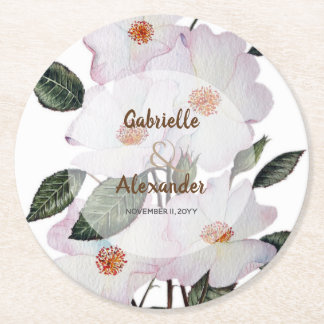 White Roses Botanical Illustration Wedding Round Paper Coaster