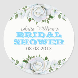 White Roses Bouquet Bridal Shower Sticker