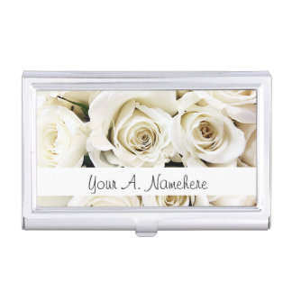 White Roses Business Card Holder