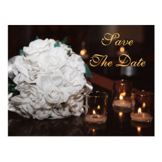 White Roses & Candlelight Save The Date Card