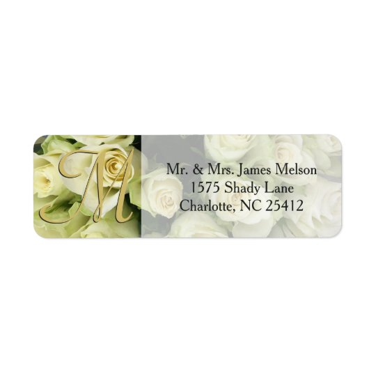 White Roses Champagne Blush Wedding Suite Return Address Label