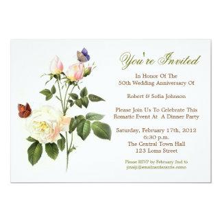 white roses elegant anniversary invitations