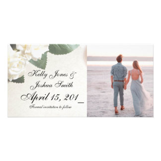 White Roses Engagement Announcement Cards Template