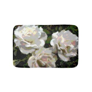 White Roses Flower Photograph Bathroom Mat