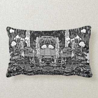 White Roses in Black Garden Custom Pillow