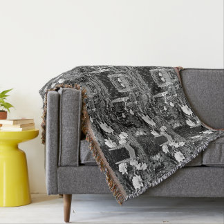 White Roses in Black Garden Throw Blanket