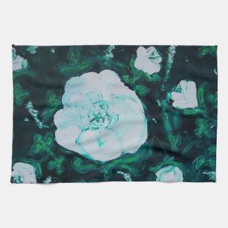 white roses kitchen towel