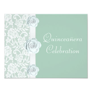 """White Roses & Lace Mint Green Birthday Quinceanera 4.25"""" X 5.5"""" Invitation Card"""