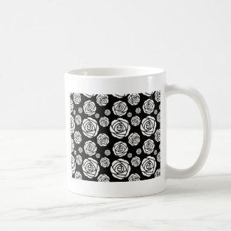 White Roses on Black Classic White Coffee Mug