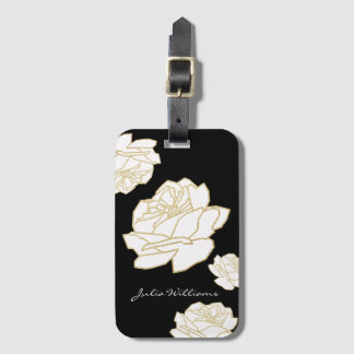 white roses on black, nice floral luggage tag
