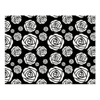White Roses on Black Postcard