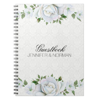 White Roses Over White Damask Notebooks