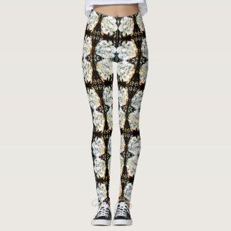 White Roses Pattern Leggings