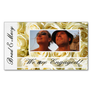 White roses photo engagement announcement magnetic business card