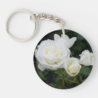 White Roses Single-Sided Round Acrylic Keychain