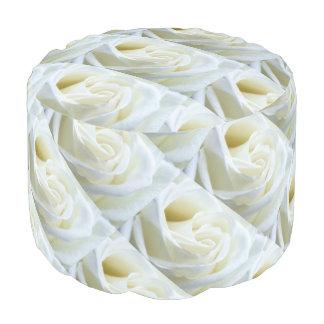 White Roses Sturdy Spun Polyester Round Pouf