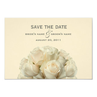 "White Roses Wedding Save The Date 3.5"" X 5"" Invitation Card"