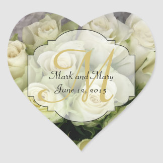 White Roses Wedding Suite Blush Champagne Heart Sticker