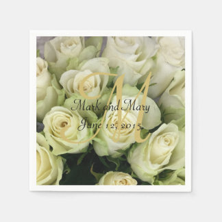 White Roses Wedding Suite Blush Champagne Paper Napkin