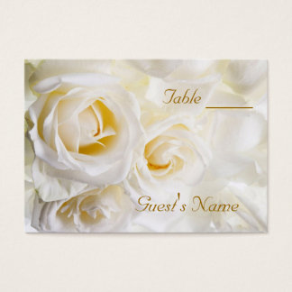 White Roses Wedding Table Numbers Business Card