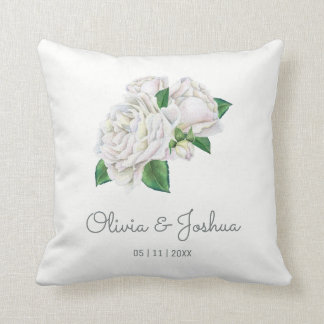 White Roses Wedding Throw Pillow