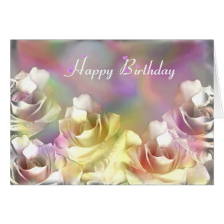 White roses with pastel effects card