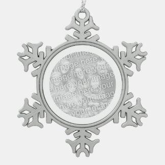 White Round Border Snowflake Pewter Christmas Ornament