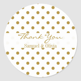 White Round Custom Gold Polka Dotted Thank You Classic Round Sticker