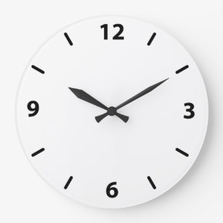 White Round Wall Clock with Numbers