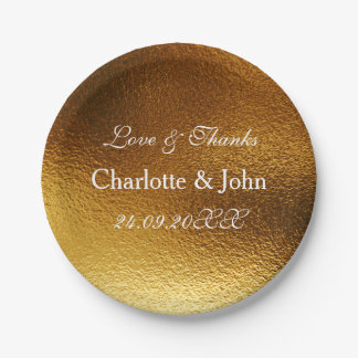 White Royal Metallic Shiny Gold Paper Plate