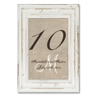 White Rustic Frame and Burlap Table Number Card