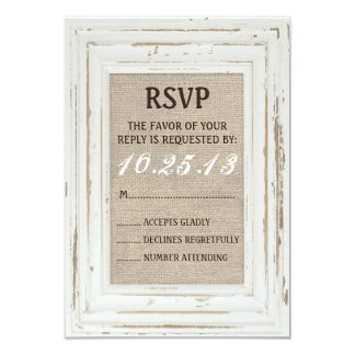 "White Rustic Frame & Burlap RSVP Card 3.5"" X 5"" Invitation Card"