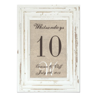 White Rustic Frame & Burlap Table Number For Gemma Card