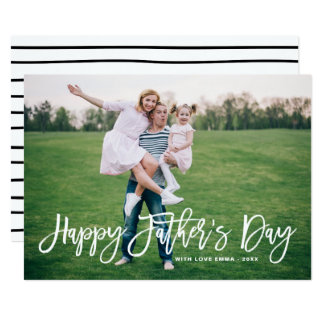 White Rustic Hand Lettering Happy Father's Day Card
