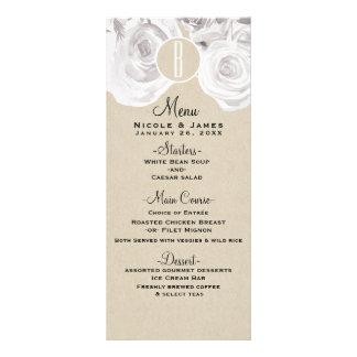 White Rustic Winter Roses Kraft Wedding Menu Card