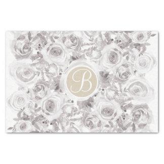 White Rustic Winter Roses Monogram Letter Initial Tissue Paper