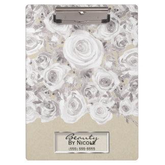 White Rustic Winter Roses Shabby Chic Kraft Clipboard