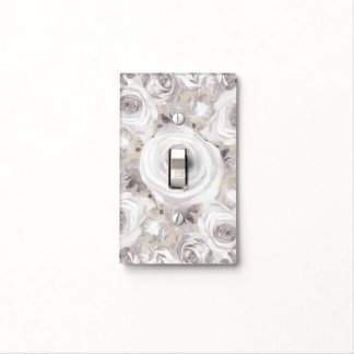 White Rustic Winter Roses Shabby Chic Kraft Light Switch Cover
