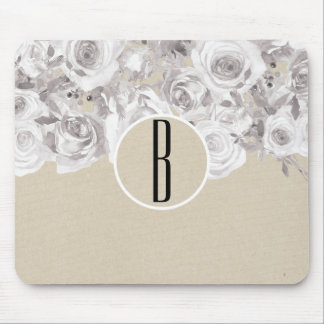 White Rustic Winter Roses Shabby Chic Kraft Mouse Pad