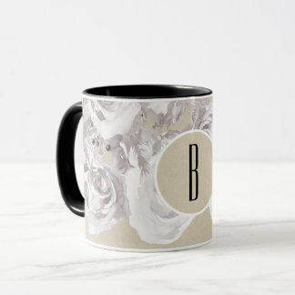 White Rustic Winter Roses Shabby Chic Kraft Mug