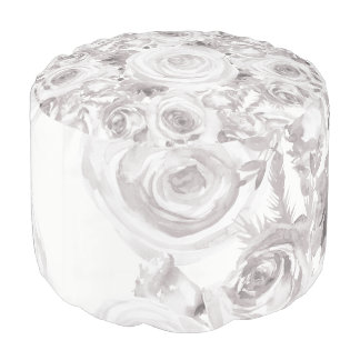 White Rustic Winter Roses Shabby Chic Kraft Pouf