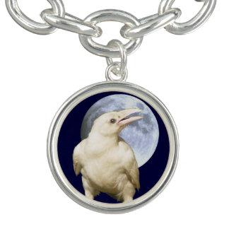 White Sacred Raven & Moon Jewellery Design Charm Bracelet