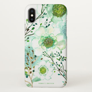 White & Sage Floral | Optional Personalization iPhone X Case