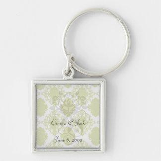 white sage romantic elegant damask Silver-Colored square keychain