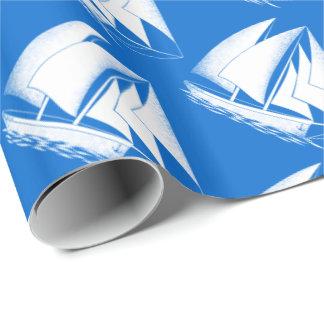 White sailboat, blue nautical