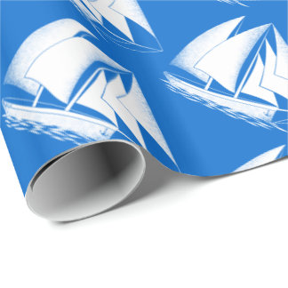 White sailboat, blue nautical wrapping paper
