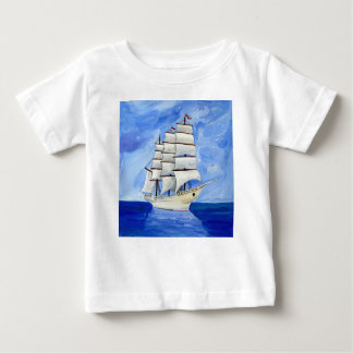 white sailboat on blue sea baby T-Shirt
