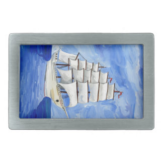 white sailboat on blue sea belt buckles
